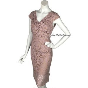 Adrianna Pappel NWT rare blush rose lace dress
